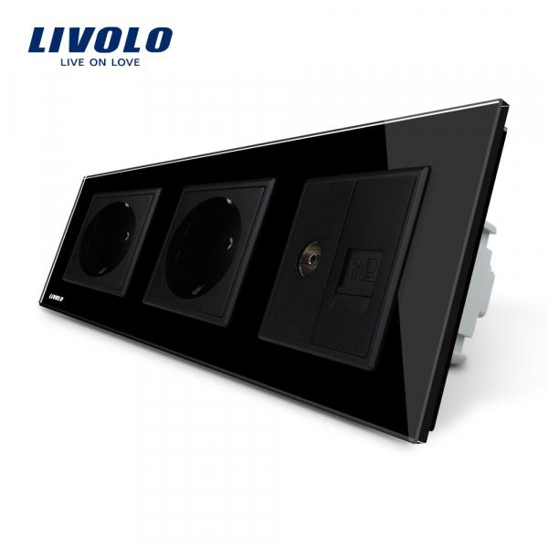 Priză Schuko+Schuko+TV / RJ45 Livolo [0]