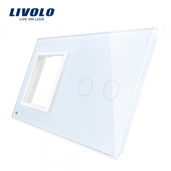 Ramă+panou întrerupător dublu din sticlă Livolo 0