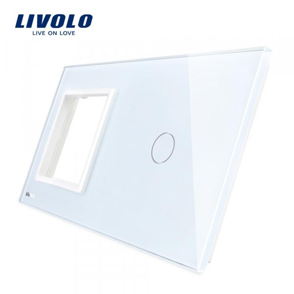 Ramă+panou întrerupător simplu din sticlă Livolo 0