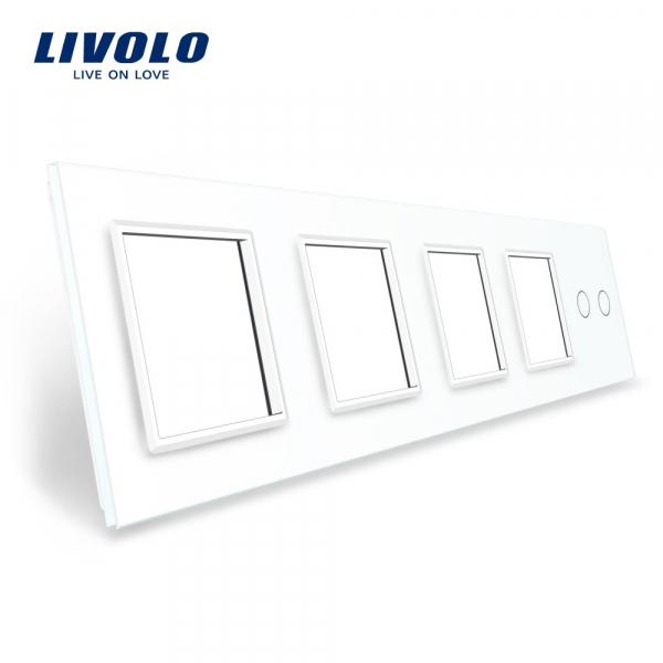 Ramă+ramă+ramă+ramă+panou întrerupător dublu din sticlă Livolo