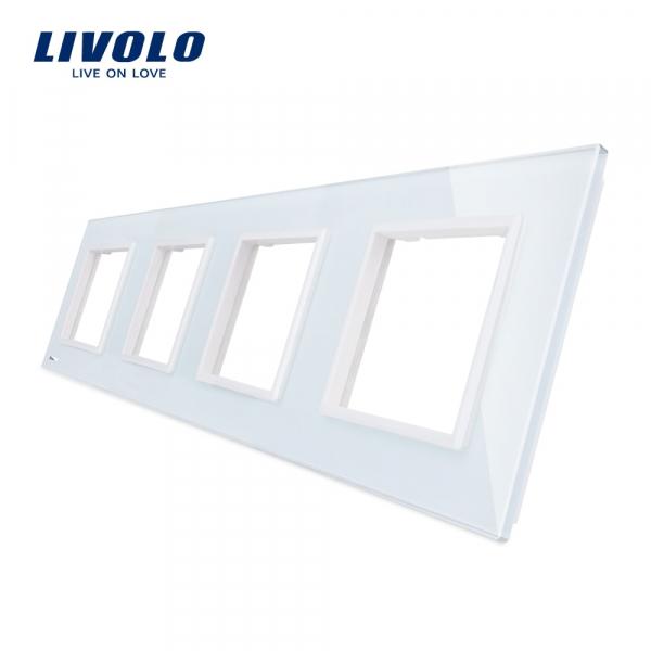 Ramă priză cvadruplă din sticlă Livolo 0