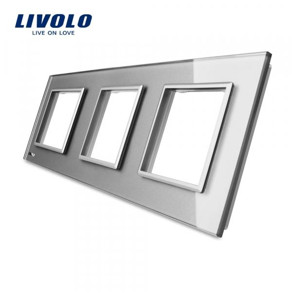 Ramă priză triplă din sticlă Livolo 0