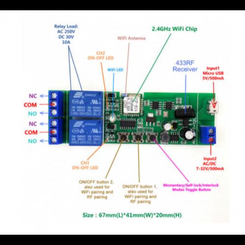 Releu WiFi+RF cu 2 canale, 433Mhz, 5V-32V SmartWise [0]