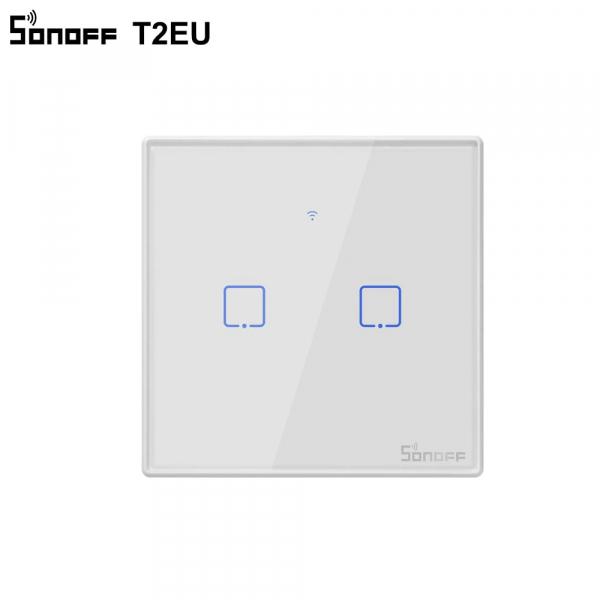 Sonoff T2EU2C-TX - Întrerupător Touch dubu cu control WiFi și RF 0