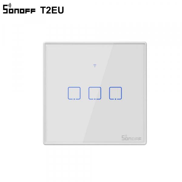 Sonoff T2EU3C-TX - Întrerupător Touch triplu cu control WiFi și RF 0