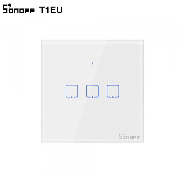 Sonoff T1EU3C-TX - Întrerupător Touch triplu cu control WiFi și RF 0