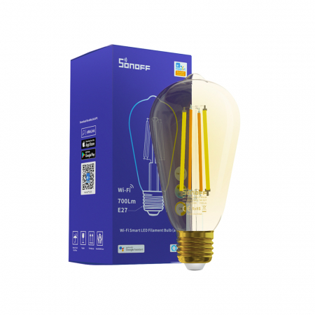 Bec LED CCT smart WiFi cu filament ST64 Sonoff [0]