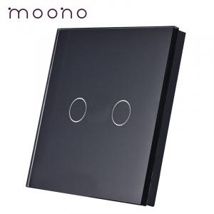 Panou întrerupător dublu din sticlă M1 moono, Negru
