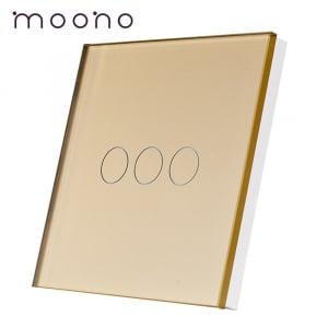 Panou întrerupător triplu din sticlă M1 moono, Auriu