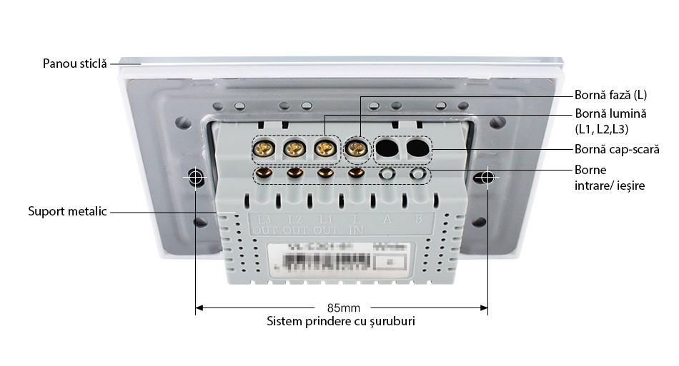 Întrerupător touch triplu cu variator (dimmer) Livolo Standard Italian