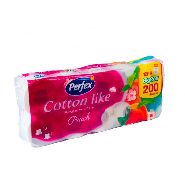 "Hirtie igienica PERFEX COTTON LIKE Parfumata ""Piersic"" 10 role,3 straturi, 200 foi 0"