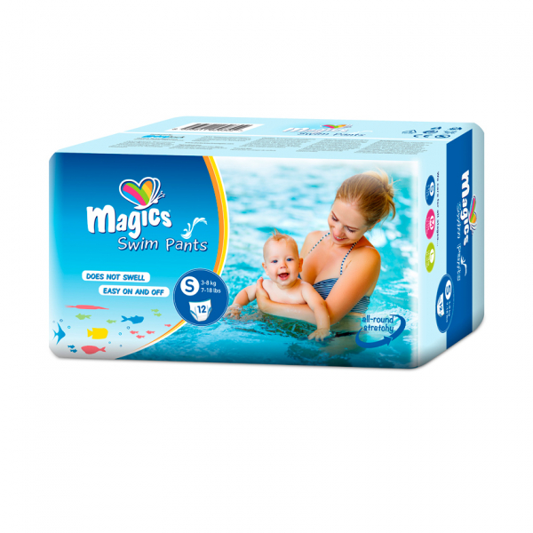 Scutece chilotel pentru apa Magics Pants Air Tubes Marime S(2-3), 3-8kg, 12 bucati [0]