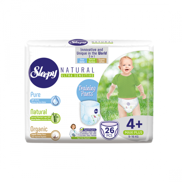 Scutece Chilotel Sleepy Natural Pants Ultra Sensitive Marime 4+ Maxi Plus , 9-16kg, 26 bucati 0