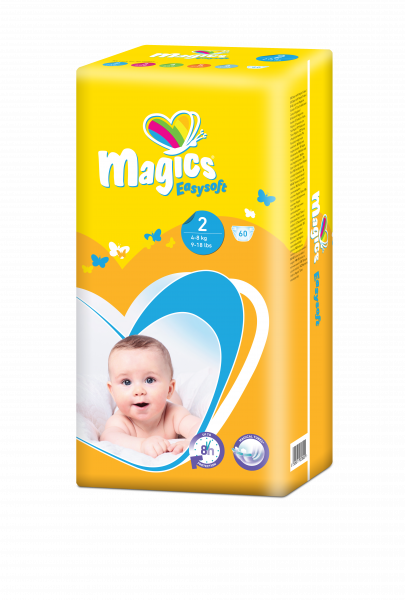 Scutece Magics Easysoft Marime 2 Mini, 4-8 kg, 60 bucati 0