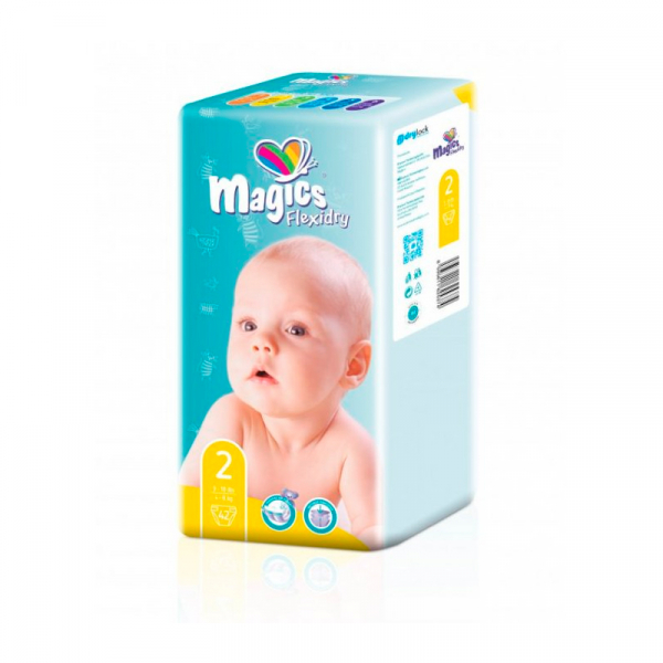 Scutece Magics Flexidry Marime 2 Mini, 4-8kg, 42 bucati 0