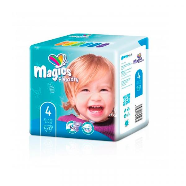 Scutece Magics Flexidry Marime 4 Maxi, 9-14kg, 31 bucati 0