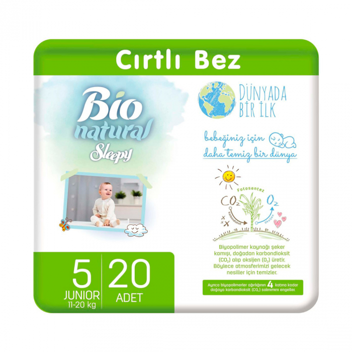 Scutece Sleepy Bio Natural Marime 5 Junior , 11-20kg, 20 bucati 0