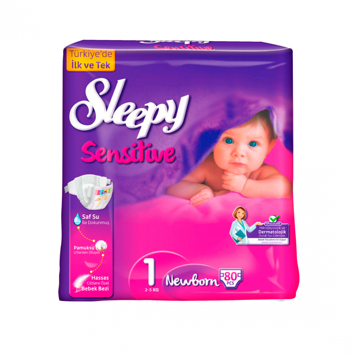 Scutece SLEEPY SENSITIVE Hipoalergenic, Marime 1 NEW BORN 2-5kg 80 bucati [0]