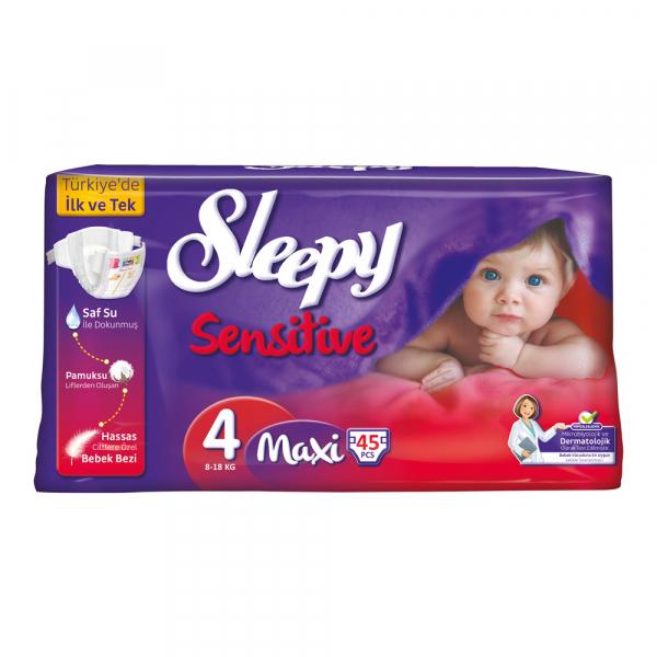 Scutece SLEEPY SENSITIVE Hipoalergenic, Marime 4 MAXI 7-14kg 45 bucati 0