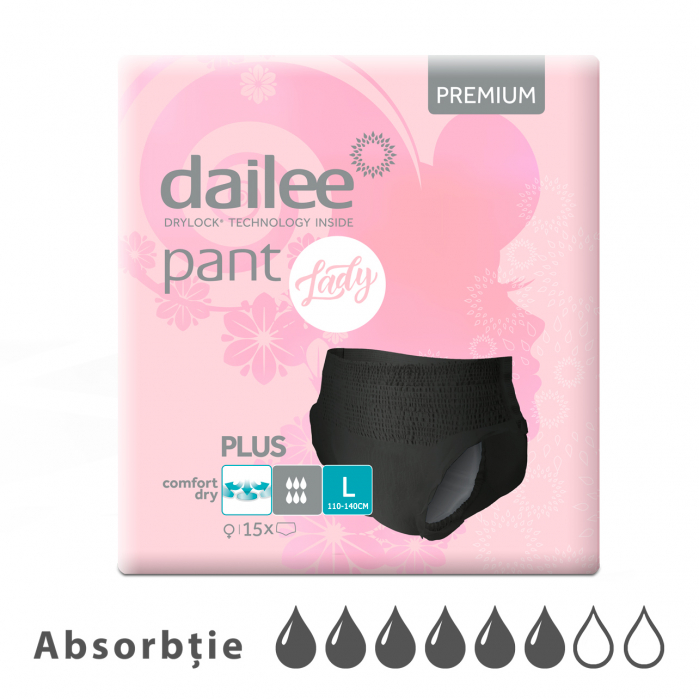 Scutece tip chilot DAILEE Pants LADY Premium Plus 6 Picaturi, L 110-140 cm, 15 bucati [0]