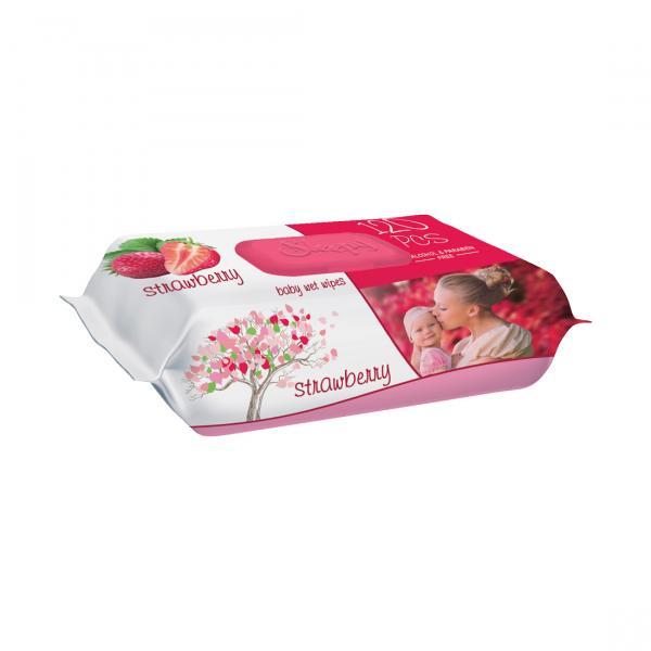 Servetele umede bebelusi Sleepy Strawberry, 120 bucati, aroma de capsuna [0]