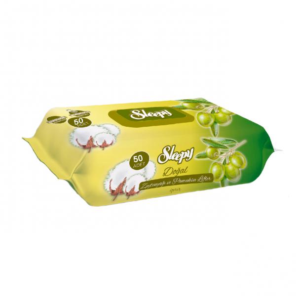 Servetele umede SLEEPY 50 buc Bumbac cu ulei de Masline 0