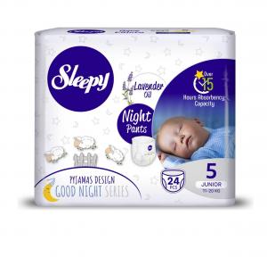 Scutece Chilotel Sleepy Natural Pants Ultra Sensitive Night Marime 5 Junior , 11-18kg, 24 bucati0