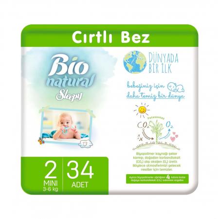 Scutece Sleepy Bio Natural Marime 2 Mini , 3-6kg, 34 bucati0
