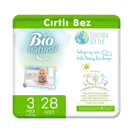Scutece Sleepy Bio Natural Marime 3 Midi , 4-10kg, 28 bucati [0]