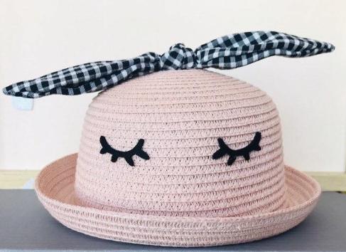 Pălărie din paie cu funda-  Pink- [0]