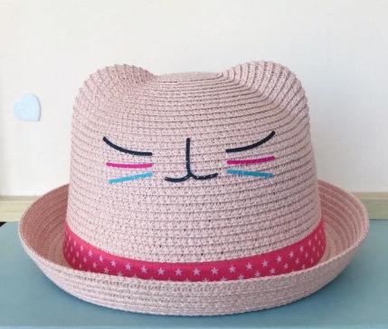 Pălărie din paie cu urechi - Pink [0]