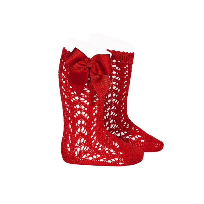 Sosete tricotate din bumbac - Red - [0]