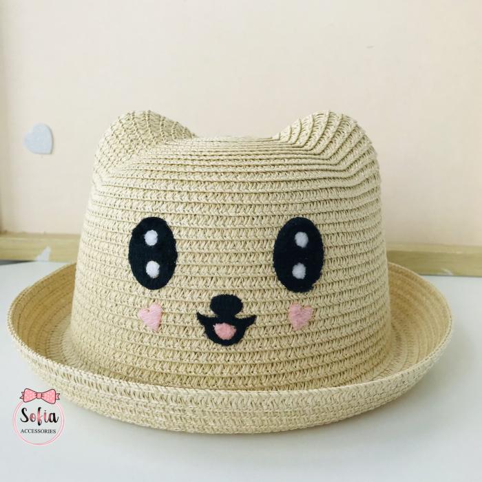 Pălărie din paie cu urechi - Teddy Bear [0]