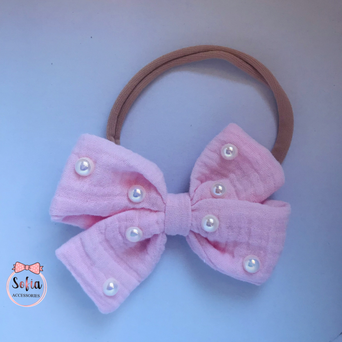 Lina Light Pink Bow & Pearls [0]