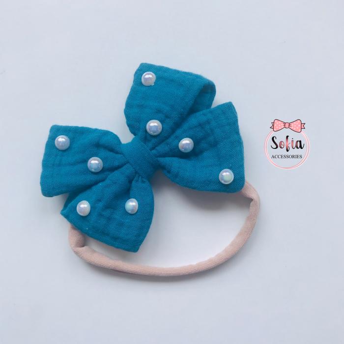 Lina Petrol Blue Bow & Pearls [0]