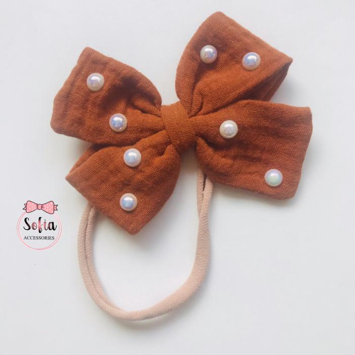 Lina Cognac Bow & Pearls [1]