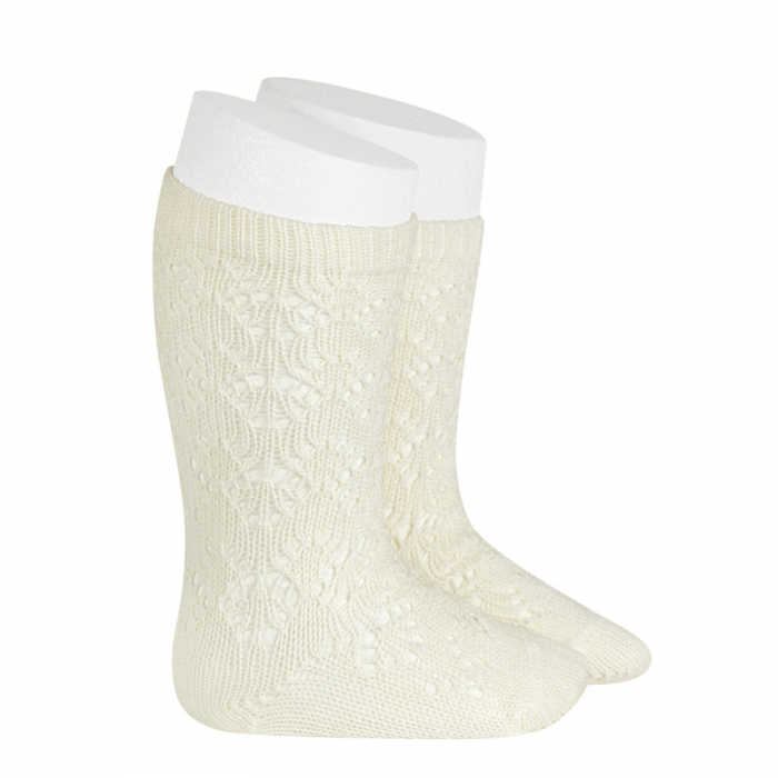 Sosete tricotate din bumbac - Ivory- [0]