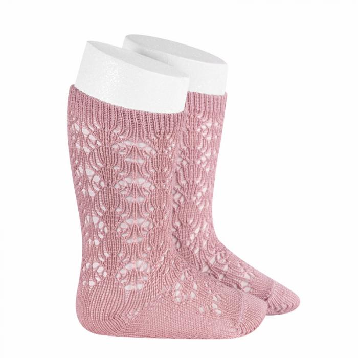 Sosete tricotate din bumbac - Pink Pale- [0]