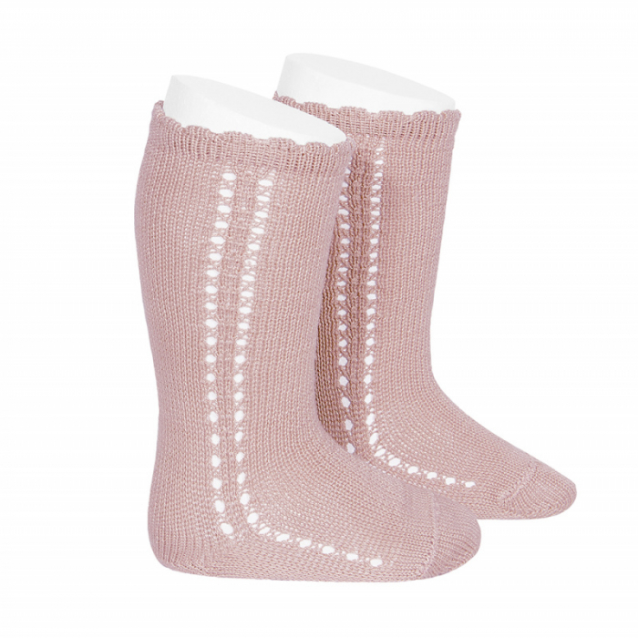 Sosete inalte din tricot - Pale Pink- [0]