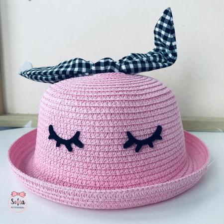 Pălărie din paie cu funda-  Pink- [1]