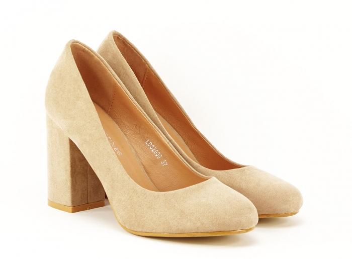 Pantofi dama nude cu toc gros Angela 1