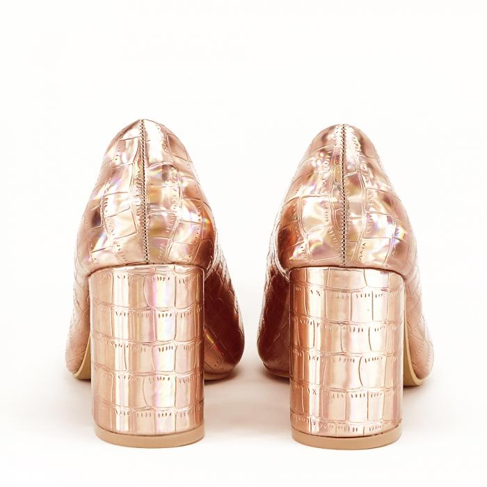 Pantofi champagne cu imprimeu reptila Fancy 3