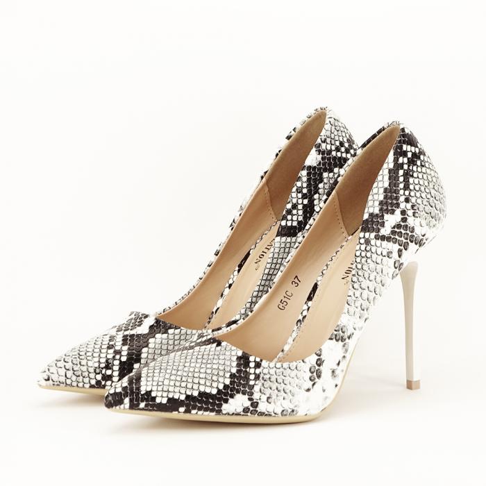 Pantofi eleganti cu imprimeu de sarpe Adele 0