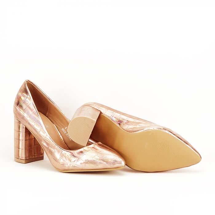 Pantofi champagne cu imprimeu reptila Fancy 4
