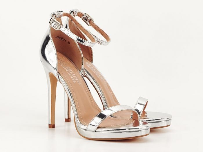 Sandale elegante argintii cu toc inalt Dorothy 1