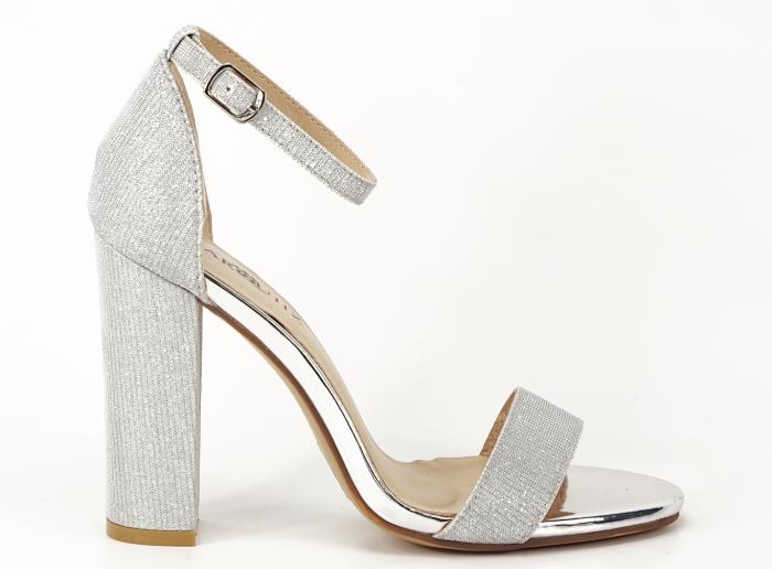 Sandale dama argintii cu fire scipicioase Caprice cu toc inalt 0