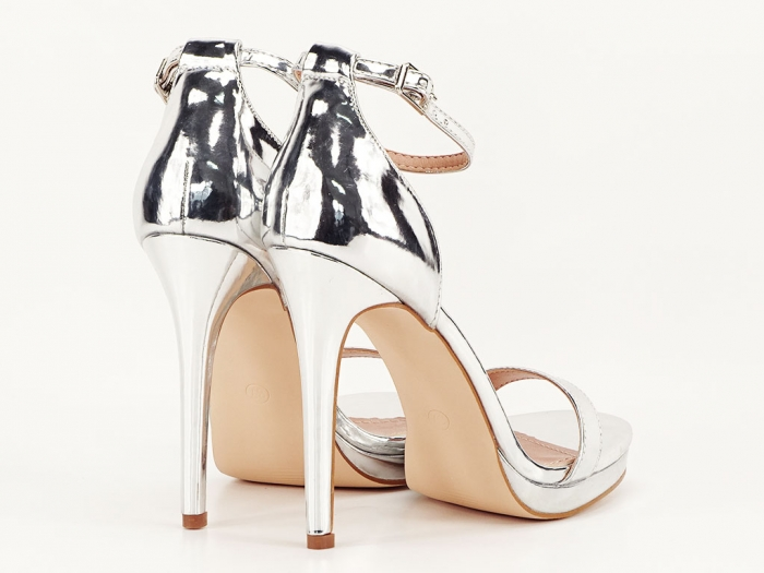 Sandale elegante argintii cu toc inalt Dorothy 2