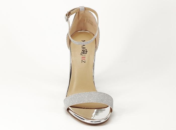 Sandale dama argintii cu fire scipicioase Caprice cu toc inalt 1