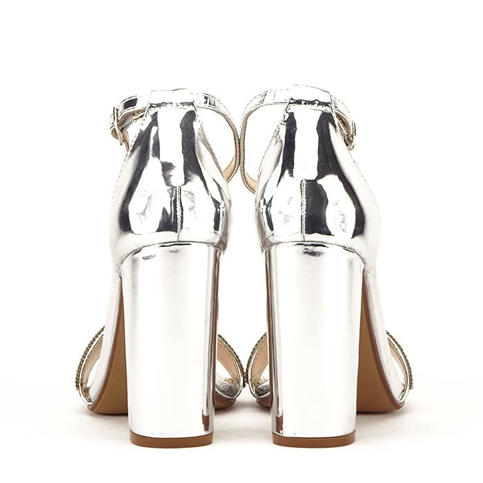 Sandale argintii cu toc gros Diana [6]