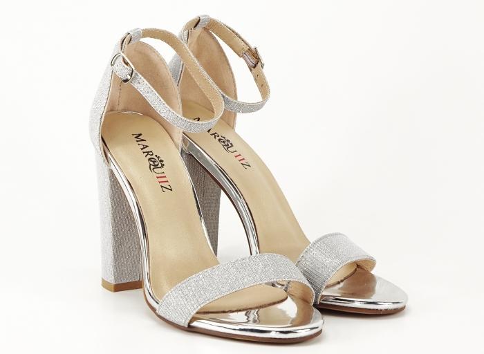 Sandale dama argintii cu fire scipicioase Caprice cu toc inalt 3